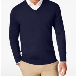Club Room MensQuarterZip Merino Wool Blend Sweater